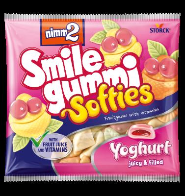 nimm2 Smilegummi Softies - joghurtos - Puha vegyes gyümölcs ízű joghurtos töltött gumicukorka vitaminokkal