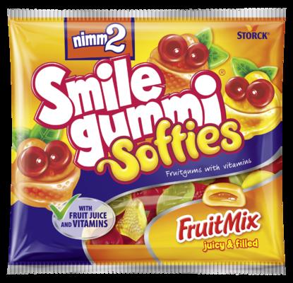 nimm2 Smilegummi Softies - gyümölcsös - Puha vegyes gyümölcs ízű töltött gumicukorka vitaminokkal