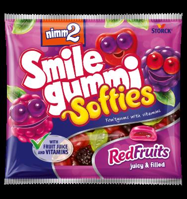 nimm2 Smilegummi Softies Red Fruits - Puha vegyes erdei gyümölcs ízű töltött gumicukorka vitaminokkal