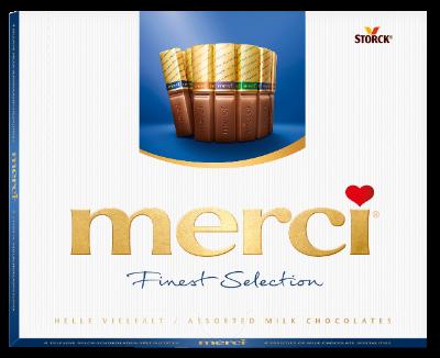 merci Tejcsokoládé Válogatás 250g - Töltött és töltetlen csokoládékülönlegességek.