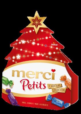 merci Petits Karácsonyfa - Töltött és töltetlen csokoládékülönlegességek.