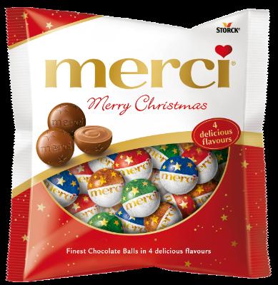 merci Karácsonyi golyók - Töltött és töltetlen csokoládégolyók - Tejcsokoládé, Mogyoró-krémes, Pralinékrémes és Étcsokoládé ízekben.