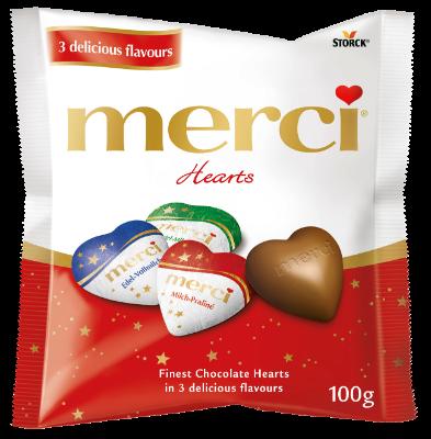merci Karácsonyi szívek - Töltött és töltetlen csokoládészívek - Tejcsokoládé, Pralinékrémes és Mogyorós-mandulás ízekben.