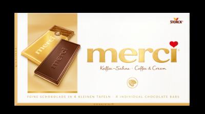 merci Táblás csokoládé - kávés-tejszínes - Kávés-tejszínes csokoládé (55%) fehércsokoládé (45%) rétegen