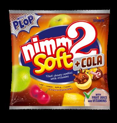 nimm2 soft gyümölcsös-kólás - Gyümölcsös töltött olvadó cukorka gyümölcslével, vitaminokkal és kóla ízesítéssel (koffeinmentes)