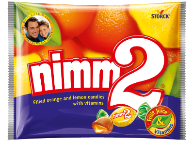nimm2 keménycukorka - Gyümölcsös töltött keménycukorka vitaminokkal narancs és citrom ízben