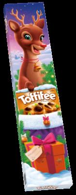 Toffifee Rénszarvas 3 x125g - Mogyoró (10 %) karamellben (41 %), mogyorós nugátkrémmel (37 %) és csokoládéval (12 %).