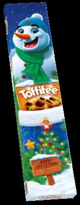 Toffifee Hóember 3 x125g - Mogyoró (10 %) karamellben (41 %), mogyorós nugátkrémmel (37 %) és csokoládéval (12 %).