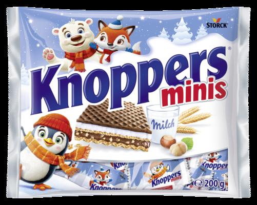 Knoppers minis - Wafer ripieni (crema al latte 30,2%, crema alle nocciole 29,4%)