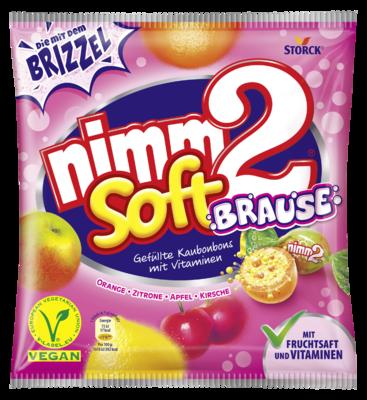 nimm2 soft Fizzy - Caramelle con ripieno effervescente alla frutta con vitamine