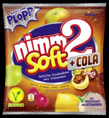 nimm2 soft Cola - Caramelle da masticare con ripieno alla frutta con vitamine e gusto cola