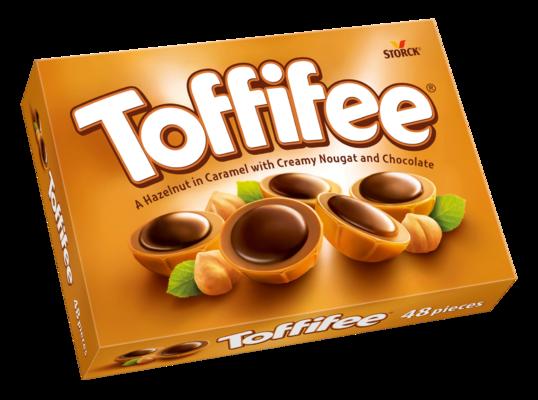 Toffifee 48 pezzi - Una nocciola (10 %) ricoperta di caramello (41 %) con crema alle nocciole (37 %) e cioccolato (12 %)
