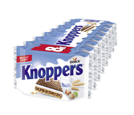 Knoppers 8 sztuk - Wafelek nadziewany (nadzienie mleczne 30,4%, nadzienie nugatowe 29,4%)