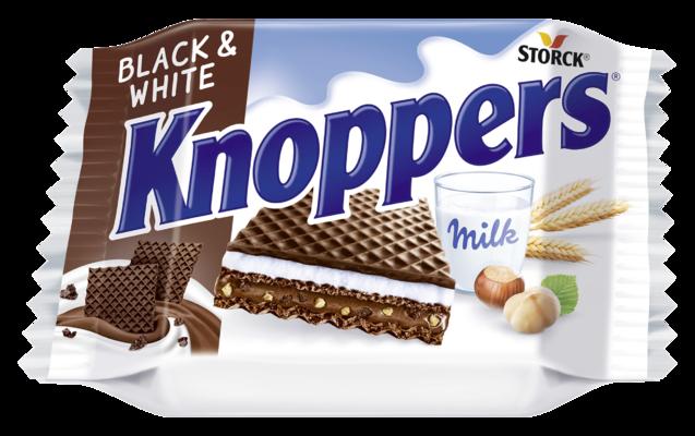 Knoppers Black&White 25g - Wafelek nadziewany (nadzienie nugatowe 29,8 % z kawałkami ciasteczek 1,6 %, nadzienie mleczne 30,3%)