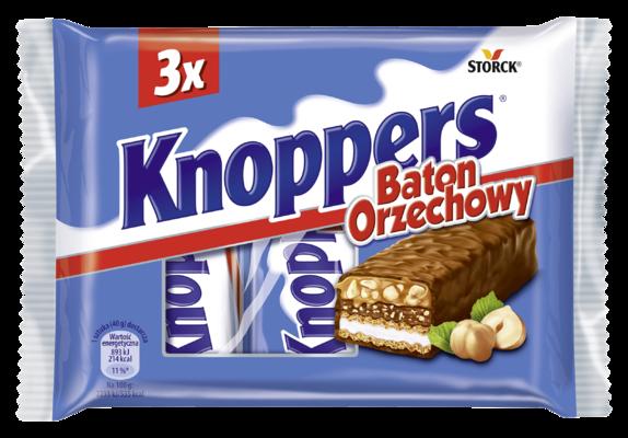 Knoppers Baton Orzechowy 3 sztuki - Baton waflowy z kremem mlecznym (14,4%), kremem nugatowym (14,1%), prażonymi orzechami laskowymi (13,4%) i delikatnym karmelem (22,2%), oblany mleczną czekoladą (29,5%)