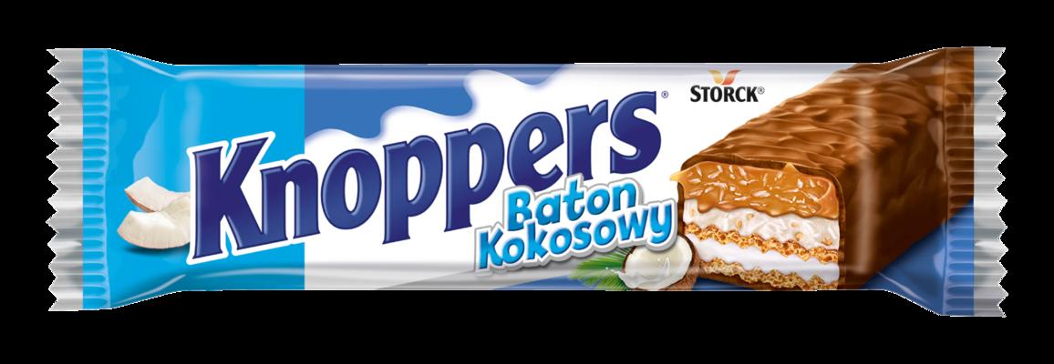 Knoppers Baton Kokosowy 40g - Baton waflowy z kremem mlecznym (14,4%), kremem kokosowym z dodatkiem orzechów laskowych (17%), wiórkami kokosowymi (6,5%) i delikatnym karmelem (26,1%), oblany mleczną czekoladą (29,5%)