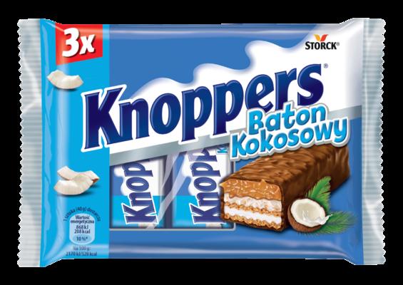 Knoppers Baton Kokosowy 3x40g - Baton waflowy z kremem mlecznym (14,4%), kremem kokosowym z dodatkiem orzechów laskowych (17%), wiórkami kokosowymi (6,5%) i delikatnym karmelem (26,1%), oblany mleczną czekoladą (29,5%)