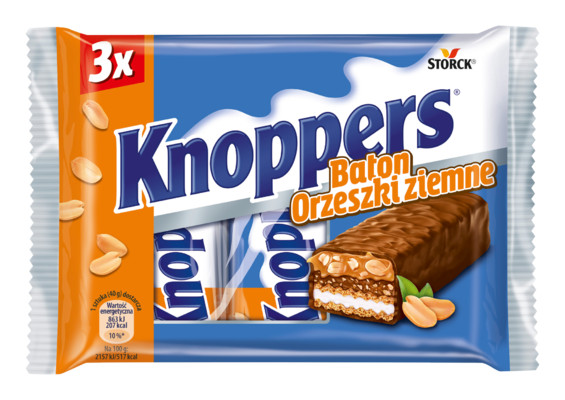 Knoppers Baton Orzeszki ziemne 3x40g - Baton waflowy z kremem mlecznym (14,4%), masłem orzechowym (14%), solonymi, siekanymi orzeszkami ziemnymi (13,4%) i delikatnym karmelem (22,1%), oblany mleczną czekoladą (29,5%)