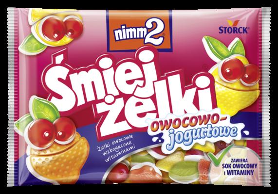 nimm2 Śmiejżelki owocowo-jogurtowe 100g - Żelki owocowe wzbogacone witaminami pokryte warstwą zawierającą odtłuszczony jogurt (40%)