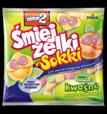 nimm2 Śmiejżelki Sokki kwaśne 90g - Nadziewane żelki owocowe z odtłuszczonym jogurtem wzbogacone witaminami
