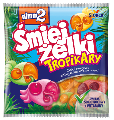 nimm2 Śmiejżelki TropikAry 90g - Żelki owocowe o smakach tropikalnych wzbogacone witaminami