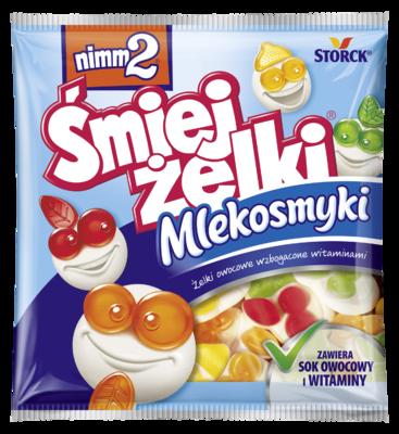 nimm2 Śmiejżelki Mlekosmyki 90g - Żelki owocowe z odtłuszczonym mlekiem wzbogacone witaminami