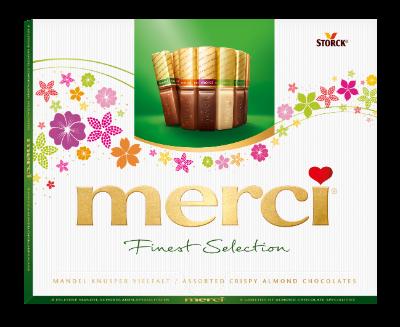merci Crispy Almond Variety 250g Easter - Specjały czekoladowe z chrupkimi kawałkami migdałów (9,2%).
