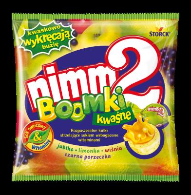 nimm2 Boomki Kwaśne 90g - Rozpuszczalne nadziewane cukierki owocowe wzbogacone witaminami