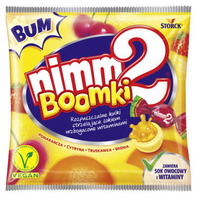 nimm2 Boomki 90g - Rozpuszczalne nadziewane cukierki owocowe wzbogacone witaminami