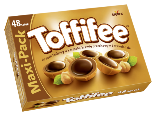 Toffifee 400g - Orzech laskowy (10%) w karmelu (41%), kremie orzechowym (37%) i czekoladzie (12%)