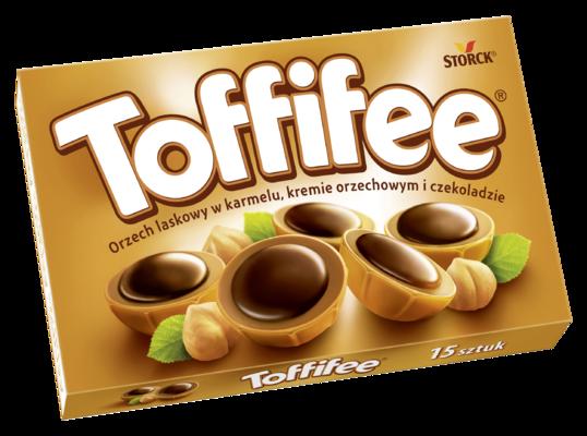 Toffifee 125g - Orzech laskowy (10%) w karmelu (41%), kremie orzechowym (37%) i czekoladzie (12%)