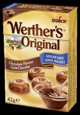 Werther's Original Cukierki czekoladowe bez cukru 42g - Cukierki śmietankowe o smaku czekoladowym. Nie zawierają cukrów, z substancjami słodzącymi.