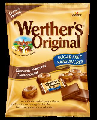 Werther's Original Cukierki czekoladowe bez cukru 60g - Cukierki śmietankowe o smaku czekoladowym. Nie zawierają cukrów, z substancjami słodzącymi.