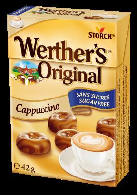 Werther's Original Cukierki cappuccino bez cukru 42g - Cukierki śmietankowe o smaku cappuccino. Nie zawierają cukrów, z substancjami słodzącymi