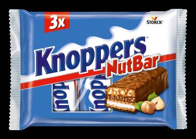 Knoppers NutBar - 3 komada - Vafel pločica s mliječnom kremom (14,4%), nugat-kremom (14%), sjeckanim lješnjacima (13,4%) i karamelom (22,2%), prelivena mliječnom čokoladom (29,5%)