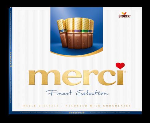 merci Finest Selection odabir mliječnih čokoladnih specijaliteta 250g - Mješavina čokolada i punjenih čokolada.