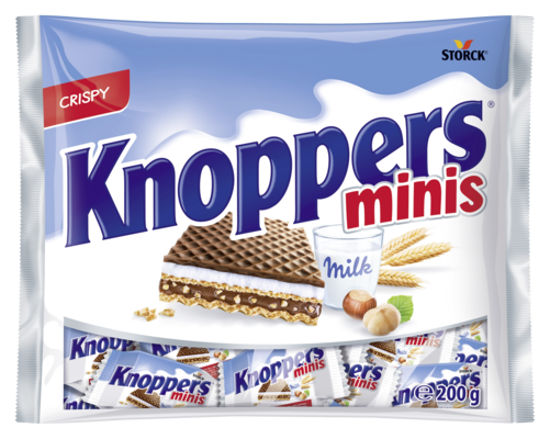 Knoppers minis - Plnené oblátky (mliečny krém 30,2%, nugátový krém 29,4%).