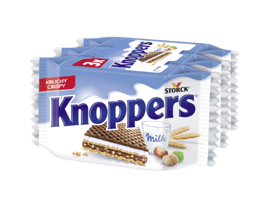 Knoppers 3-pack - Oblátky s mliečnou náplňou 30,4 % a nugátovou náplňou 29,4 % polomáčaná v kakaovej poleve (14,6 %)