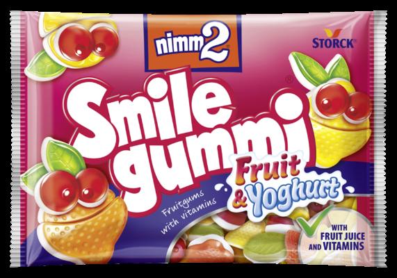 nimm2 Smilegummi ovocno-jogurtové - Ovocné želé obohatené vitamínmi a jogurtovou vrstvou z odtučneného mlieka (40%)