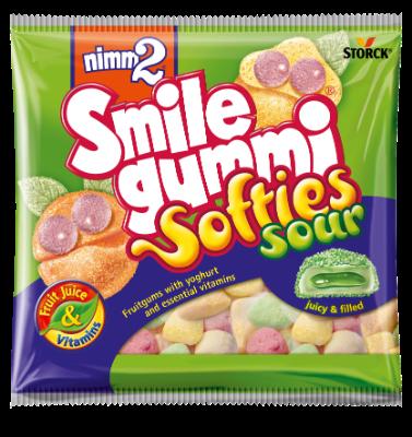 nimm2 Smilegummi Softies kyslé - Mäkké plnené ovocné želé obohatené vitamínmi s odtučneným jogurtom, kyslé