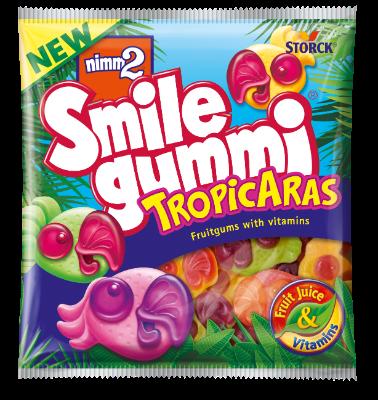 nimm2 Smile gummi Tropicaras - Ovocné želé s príchuťou tropického ovocia obohatené vitamínmi.