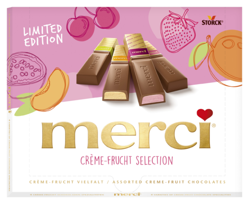 merci Finest Selection ovocná - Čokoládové špeciality s náplňou s ovocnou príchuťou.
