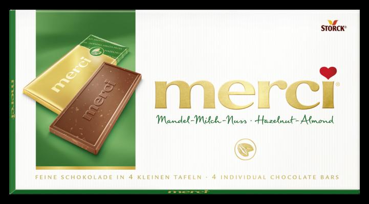 merci tabuľková čokoláda oriešková - Mléčná čokoláda s lískovými ořechy a mandlemi/Jemná mliečna čokoláda s kúskami lieskovcov a mandlí
