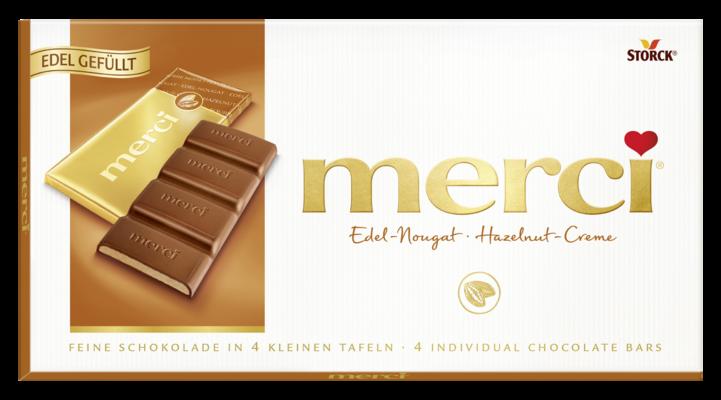merci tabulková čokoláda nugátová - Mléčná čokoláda plněná lískooříškovým krémem (43 %)/Jemná mliečna čokoláda s nugátovou náplňou (43 %)