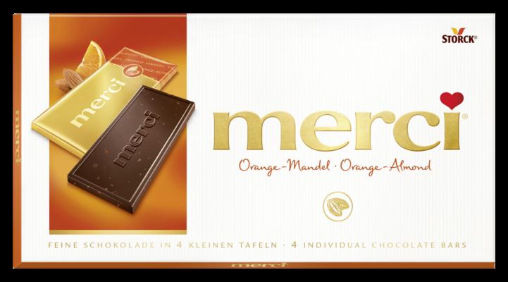 merci tabulková čokoláda pomaranč mandle - Hořká čokoláda s kousky mandlí (6 %) a koncentrovanou pomerančovou šťávou (2 %)/ Čokoláda s kúskami mandlí (6%) a pomarančovým koncentrátom (2%)