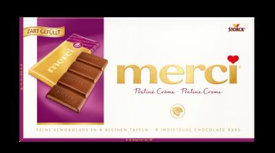 merci tabulková čokoláda pralinková - Mléčná čokoláda plněná mléčnou náplní (42%)/Mliečna čokoláda s mliečnou pralinkovou náplňou (42%).