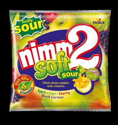 nimm2 Soft kyslé - Žuvacie cukríky s ovocnou náplňou a vitamínmi, kyslé