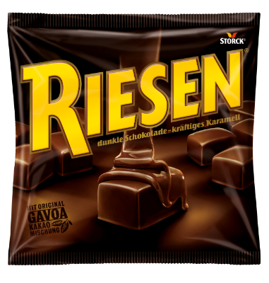 Riesen - Kakaová karamelka v horkej čokoláde (30 %). Kakaová sušina najmenej 43 %.