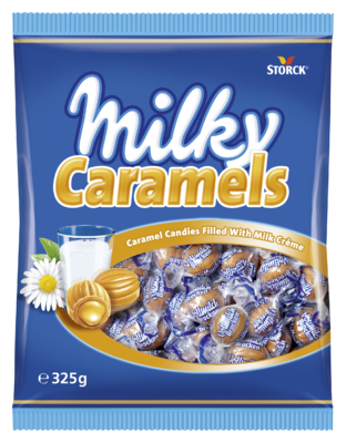 Milky Caramels - Karamelové bonbóny s mliečnou náplňou (24%).