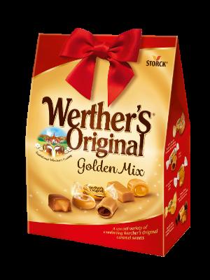 Werther's Original Golden Mix - Kolekce plněných a neplněných bonbónů se smetanou a karamel v mléčné čokoládě (30 %)/ Zmes plnených a neplnených smotanových karameliek a karameliek celomáčaných v mliečnej čokoláde (30%). .